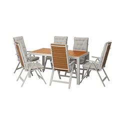 SJÄLLAND - Meja+6 kursi recliner, l.ruang, cokelat muda/Kuddarna abu-abu