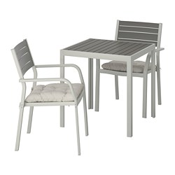 SJÄLLAND - Table+2 chairs w armrests, outdoor, dark grey/Kuddarna grey