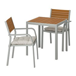 SJÄLLAND - Table+2 chairs w armrests, outdoor, light brown/Kuddarna dark grey