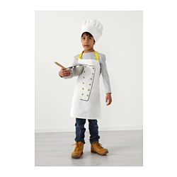 TOPPKLOCKA - Children's apron with chef's hat, white/yellow