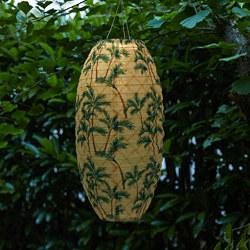 SOLVINDEN - LED solar-powered pendant lamp, outdoor/oval palm pattern
