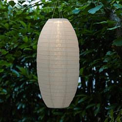 SOLVINDEN - LED solar-powered pendant lamp, outdoor/oval white