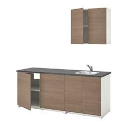 KNOXHULT - Kitchen, wood effect grey, 204x61x220 cm
