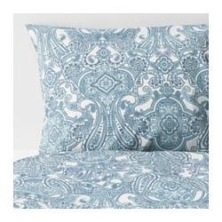JÄTTEVALLMO - Sarung quilt dan 2 sarung bantal, putih/biru