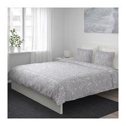 JÄTTEVALLMO - Sarung quilt dan 4 sarung bantal, putih/abu-abu