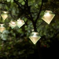 SOLVINDEN - Lampu rantai LED dengan 12 bohlam, luar ruang tenaga surya/berbentuk berlian biru