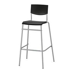 STIG - Kursi bar dengan sandaran, hitam/warna perak
