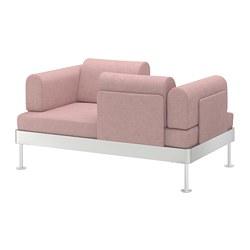 DELAKTIG - Sofa 2 dudukan, Gunnared cokelat muda-merah muda