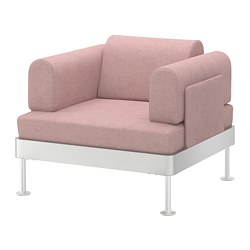 DELAKTIG - Kursi berlengan, Gunnared cokelat muda-merah muda