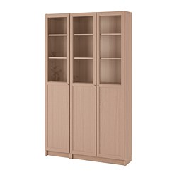 BILLY/OXBERG - Bookcase with panel/glass doors, white stained oak veneer/glass