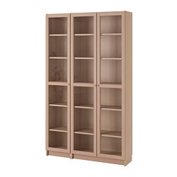 BILLY/OXBERG - Bookcase with glass-doors, white stained oak veneer