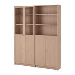 BILLY/OXBERG - Lemari buku dg panel/pintu kaca, veneer kayu oak diwarnai putih