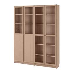 BILLY/OXBERG - Lemari buku dg panel/pintu kaca, veneer kayu oak diwarnai putih/kaca
