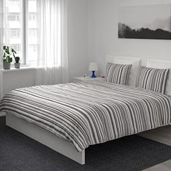 RANDGRÄS - Sarung quilt dan 4 sarung bantal, abu-abu/garis-garis