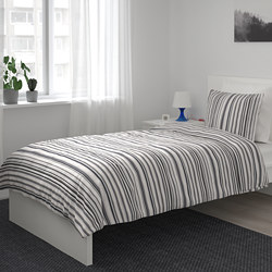 RANDGRÄS - Sarung quilt dan 2 sarung bantal, abu-abu/garis-garis