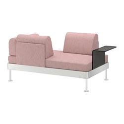 DELAKTIG - Sofa 2 dudukan dengan meja samping, Gunnared cokelat muda-merah muda