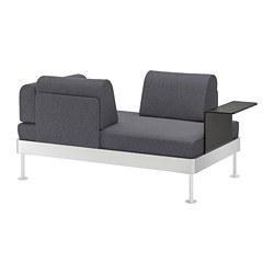 DELAKTIG - Sofa 2 dudukan dengan meja samping, Gunnared abu-abu medium