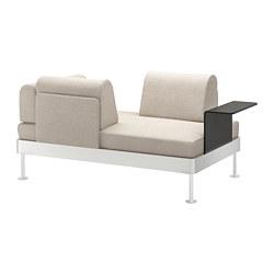 DELAKTIG - Sofa 2 dudukan dengan meja samping, Gunnared krem