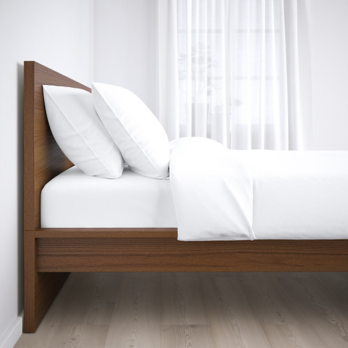 MALM - rangka tempat tidur, tinggi, diwarnai cokelat veneer kayu ash/Luröy, 180x200 cm | IKEA Indonesia - PE662088_S4