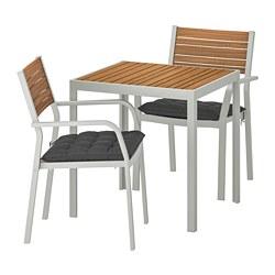 SJÄLLAND - Meja+2 kursi dg sdrn lgn, l.ruang, cokelat muda/Hållö hitam