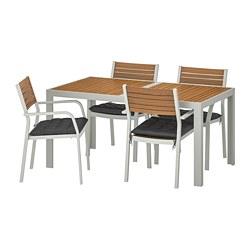 SJÄLLAND - Table+4 chairs w armrests, outdoor, light brown/Hållö black