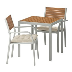SJÄLLAND - Table+2 chairs w armrests, outdoor, light brown/Hållö beige