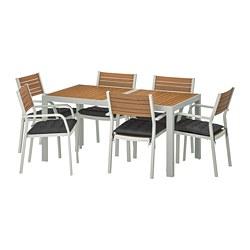SJÄLLAND - Table+6 chairs w armrests, outdoor, light brown/Hållö black