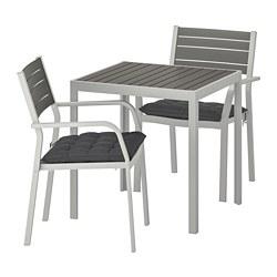 SJÄLLAND - Meja+2 kursi dg sdrn lgn, l.ruang, abu-abu tua/Hållö hitam