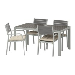 SJÄLLAND - Table+4 chairs w armrests, outdoor, dark grey/Hållö beige