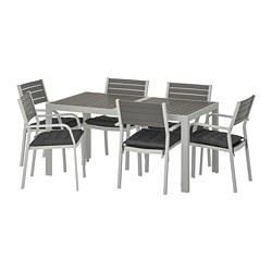 SJÄLLAND - Table+6 chairs w armrests, outdoor, dark grey/Hållö black