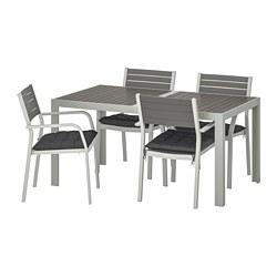 SJÄLLAND - Table+4 chairs w armrests, outdoor, dark grey/Hållö black