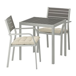 SJÄLLAND - Table+2 chairs w armrests, outdoor, dark grey/Hållö beige