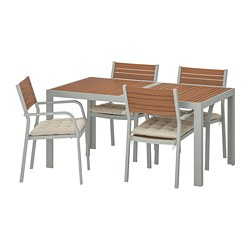 SJÄLLAND - Table+4 chairs w armrests, outdoor, light brown/Hållö beige