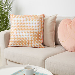 SOLGLIMTAR - Cushion, brown/white