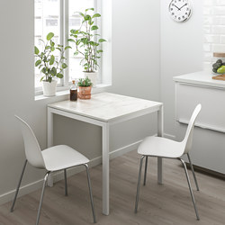 MELLTORP - Table, white marble/white
