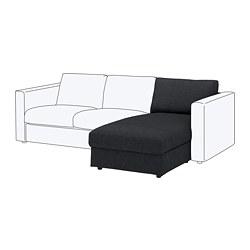 VIMLE - Bagian chaise longue, Tallmyra hitam/abu-abu