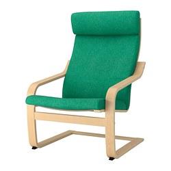 POÄNG - Kursi berlengan, veneer kayu birch/Lysed hijau terang
