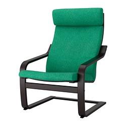 POÄNG - Kursi berlengan, hitam-cokelat/Lysed hijau terang
