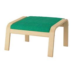 POÄNG - Bangku kaki, veneer kayu birch/Lysed hijau terang