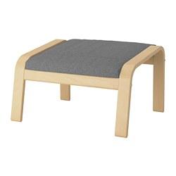 POÄNG - Bangku kaki, veneer kayu birch/Lysed abu-abu