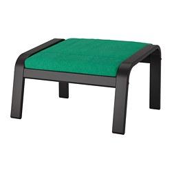 POÄNG - Bangku kaki, hitam-cokelat/Lysed hijau terang