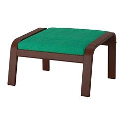POÄNG - Bangku kaki, cokelat/Lysed hijau terang