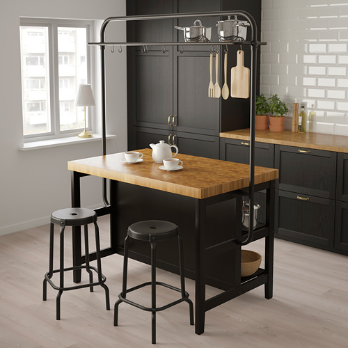 VADHOLMA kitchen island with rack