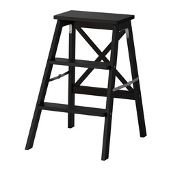 BEKVÄM - Stepladder, 3 steps, black
