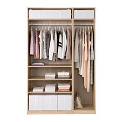 PAX - Lemari pakaian, efek kayu oak diwarnai putih