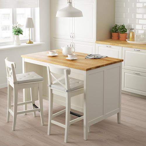 TORNVIKEN - meja tengah dapur, putih pudar/kayu oak, 126x77 cm | IKEA Indonesia - PE684550_S4