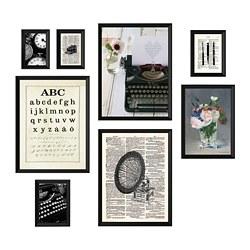 KNOPPÄNG - Bingkai dengan poster, set isi 8, Typewriter