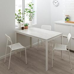 MELLTORP - Meja, putih marmer/putih