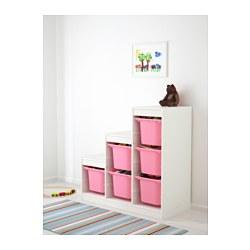 TROFAST - Kombinasi penyimpanan, putih/merah muda