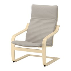 POÄNG - Armchair, birch veneer/Knisa light beige
